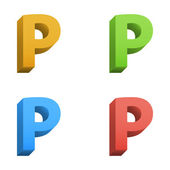 Vector 3d color alphabet — Stock Vector