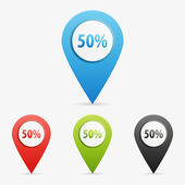 Vector 50 percent pointers — Stock Vector