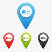 Vector 80 percent pointers — Stock Vector