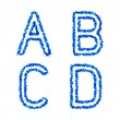 Blue bubble alphabet, a, b, c, d — Stock Vector