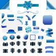 Set of blue blank isolated web elements, buttons, ribbons — Stock Vector #41704133