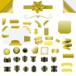 Set of gold blank isolated web elements, buttons, ribbons — Stock Vector #41704139