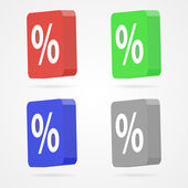 Set of color 3D percentage icons — Stock Vector