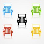 Set of clean classic veteran car color silhouettes — Stock Vector