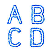 Blue bubble alphabet, a, b, c, d — Vettoriale Stock