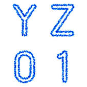 Blue bubble alphabet, y, z, 0, 1 — Stock Vector