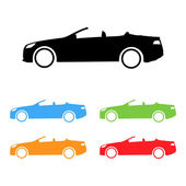 Set of sport convertible car silhouettes — Stock Vector