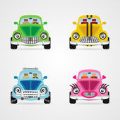 Set of cute cartoon car illustrations — Stock Vector