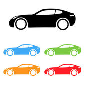 Set of sport coupe cart silhouettes — Stock Vector