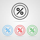 Set of color percentage discount stamps — Wektor stockowy