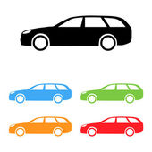 Set of estate car silhouettes — Stock Vector