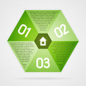 Green hexagon infographics background template — Stock Vector