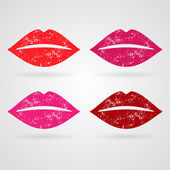 Set of vector lips with lipstick — Stock Vector