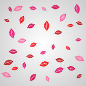 Red, purple and pink vector lips background — Stock Vector