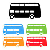 Set of color London bus silhouettes — Stock Vector