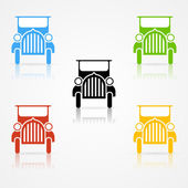 Veteran car color silhouettes — Vector de stock