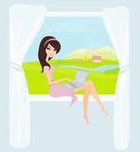 Zakupy online - młody uśmiechnięta kobieta siedząca z laptopa produk — Wektor stockowy