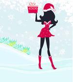 Cartão de feliz ano novo com a paisagem de inverno e menina santa — Vetor de Stock