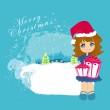 vektor kreslené děvče a vánoční stromeček s dárky — Stock vektor