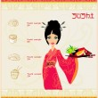 Beautiful Asian girl enjoy sushi - menu template — Stock Vector #12291317