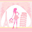Beautiful women Shopping in France and Italy — Stock Vector