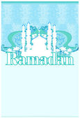 Ramadan background - mosque silhouette illustration card — Stock Vector