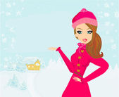 Beautiful winter girl — Vecteur