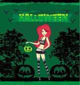 Halloween witch standing with pumpkin — Stock Vector