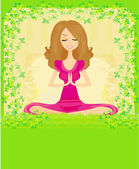 Woman in a traditional yoga pose vector illustration — Stock Vector