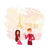Young couple flirt and drink champagne in Paris — Stock Vector