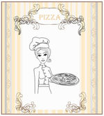 Young waitress with pizza doodle — Stock Vector