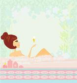 Söt flicka njuta av eleganta spa — Stockvektor