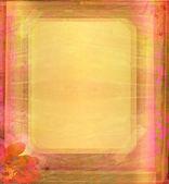 与花祝贺 grunge 框架 — 图库照片