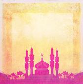 Ramadan kareem card mosque silhouette , raster — Stock Photo