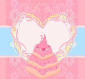 婚礼蛋糕卡设计 — 图库矢量图片