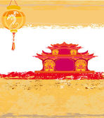 Old paper with Asian Landscape and Chinese Lanterns — Stock Vector