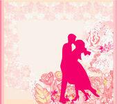 Wedding dancing couple background — Stock Vector