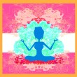 Silhouette of a Girl in Yoga pose — Stock Vector