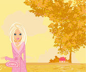 Beautiful girl in autumn park — Stock Vector