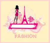 Belles femmes shopping à paris - carte de vecteur — Vecteur