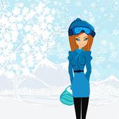 Krásné zimní dívka — Stock vektor