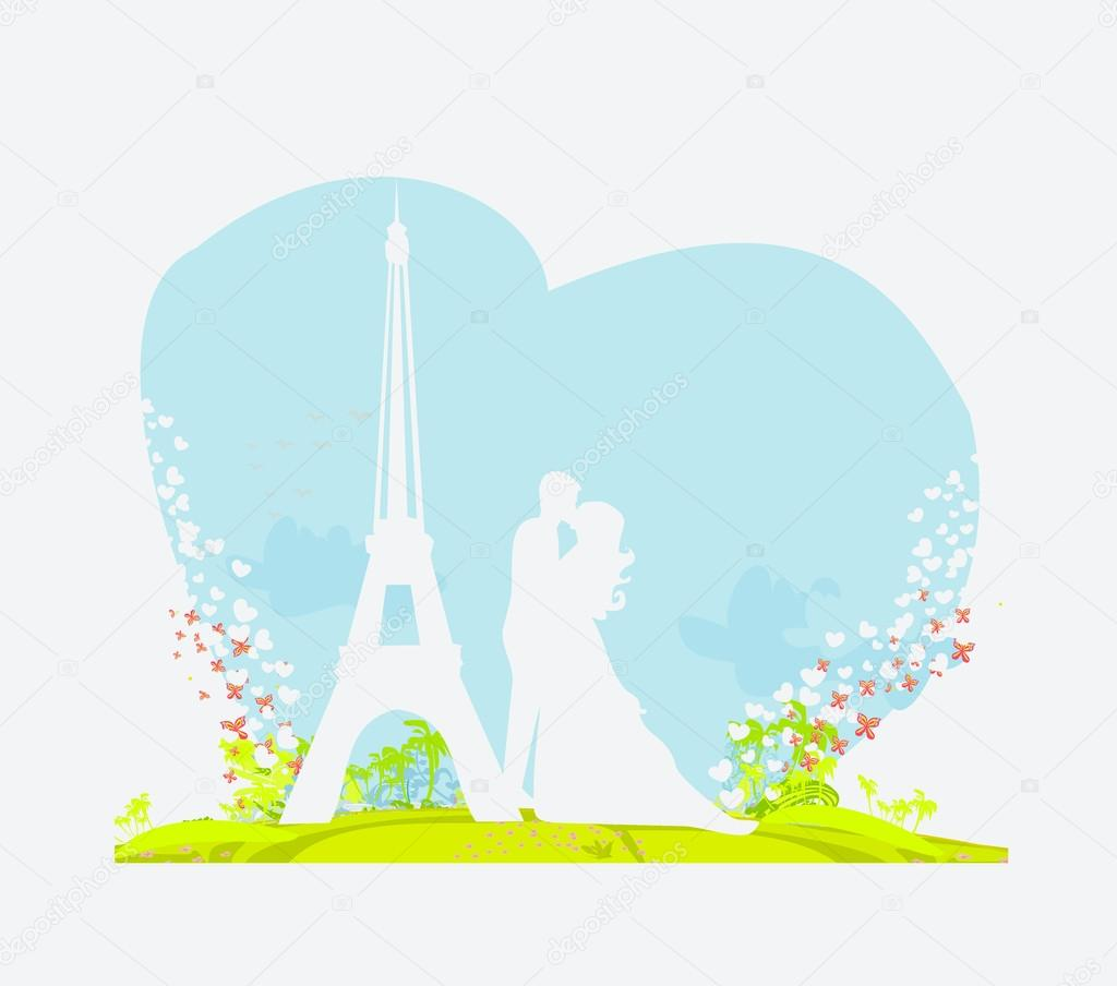 Romantic couple in Paris kissing near the Eiffel Tower — Stock Vector #12728920