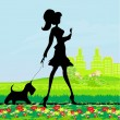 Pretty girl walking the dog — Stock Vector
