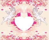 Heureuse saint valentin carte avec cupidon — Vecteur