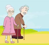 Elderly couple — Stock Vector