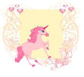 Vector Illustration of beautiful pink Unicorn. — Stock Vector