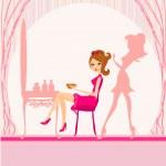 Постер, плакат: Vector illustration of the beautiful woman in hairdressing salo