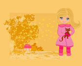 Sweet girl in autumn park and her cat — Stock Vector