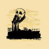 Humo saliendo de la chimenea de fábrica — Vector de stock