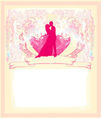 Floral greeting card with silhouette of romantic couple — Stock Vector